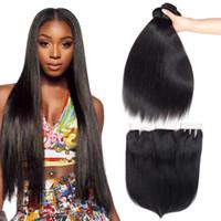 Прямые пучки человеческих волос с закрытием шнурка 4 * 4 Дешевые наращивание человеческих волос 3 пучка влажные и волнистые с закрытием бразильские волосы