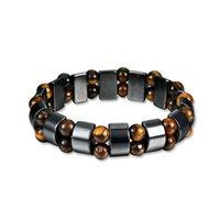 Тигровый глаз гематит камень бисер браслет пара браслет ручной Vintage ювелирные изделия DIY Strand Браслеты шарма для мужчин женщин