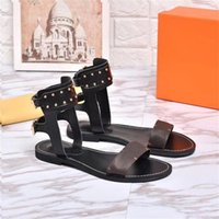 luxury Branded Women Print Leather Nomad Sandal Ankle Wrap D...