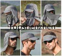 Hombres al aire libre plegable de secado rápido UV CUELLO Protección sombrero de pesca verano transpirable escalada Anti-mosquito Tactical sun caps dhl envío