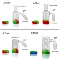 Wholesale Glass Ash Catcher With Colors Silicone Container Reclaimer 14mm Ash Catcher For Quartz Nails Glass Water Bong Dab Rig smoking