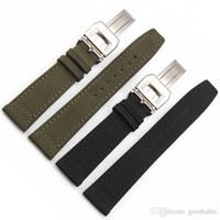 20mm 21mm 22mm Nylon+ Genuine leather watchband With deployme...