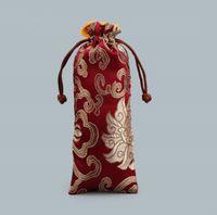 Fleur Tissu Sac à cordonnet chinois brocart de soie Bijoux Collier cadeau Allonger Rich Pouch Ox Horns peigne Trinket stockage Pocke LXL249-A