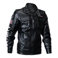 Erkek Taktik Deri Ceket Askeri Bombacı Ceket Palto Yeni Kış Abd Ordusu Pilot Ceket Siyah Motosiklet Erkek Mont Boyutu M-4XL
