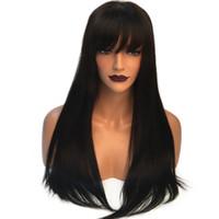 Negro natural encantador largo sedoso Pelucas llenas del cordón con explosiones a prueba de calor sin cola sintética del frente del cordón pelucas para mujeres Negro