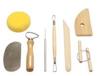 8 teile / satz wiederverwendbare diy keramik tool kit hause handarbeit ton skulptur keramik formen zeichnung werkzeuge