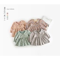 Lovely Spring Floral Infant Toddler Baby Girl Princess Dress Party Tutu per bambini Peter Pan Collar Dress CUTE 0-24m Newborn 2019 Nuovo