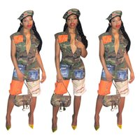 Camouflage Patchwork Knee- Length Short Jumpsuits Summer Stre...