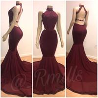Halter sirène Robes de bal 2020 Burgundy Lace Appliqued sexy dos nu robe de soirée de soirée arabe Robes robes de soirée BC0805