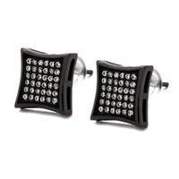 хип-хоп полные бриллианты серьги-гвоздики для мужчин геометрия черный горный хрусталь золотые серьги-гвоздики сплав алмаз квадратные украшения хорошие подарки для парня