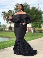 Plus Size Mermaid Prom Dresses 2019 New Off The Shoulder Piano Black Ruffles abito da sera formale Abiti da festa Custom Made