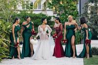 Aso Ebi 2020 Lace abiti da damigella d'onore africano Borgogna maniche Sweetheart elegante lungo cameriera d'onore promenade