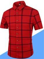 Mens Plaid Square Collar Camicie Estate Designer Boy manica corta con bottoni Vestiti Moda Camicie casual
