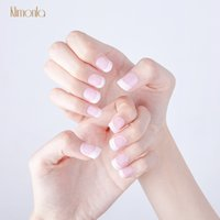 12 Sets White French Fake Nails With Glue DIY Manicure Art T...