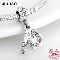 Elevata qualità 925 argento sterling colorato cz penny pendants pendenti perline misura il braccialetto originale del braccialetto di fascino di Pandora che fa cj191116