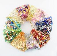Confezione regalo di organza bustina bustina bustina organza colorato trasparente oro rosa per gioielli perline festa nuziale Imballaggio GB397