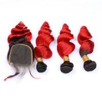 """Peruanische Schwarz Rot Ombre Haarbündel mit Verschluss 4"""" * 4"""" Dark Wurzel loser Wellenförmige Ombre Bundle Haar mit Verschluss"""