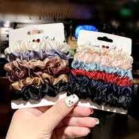 6pcs Set Solid Silk Elastic Hair Bands Women Headband Scrunchie Rubber Band Girls Ponytail Holder Hair