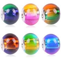 Tsunshine Mix Rainbow Gradiente sfumato di vetro di Murano Perle di fascino europeo Braccialetto Collana Distanziatore FAI DA TE Gioielli Fare il colore dell'argento