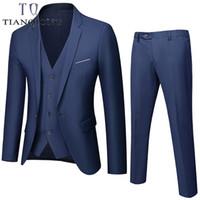 Мужские костюмы Blazers Tian Qiong Men 2021 Fahion Свадебный костюм 3 штуки (куртка + брюки + жилет) Мужская стройная пригонка Blazer Multi-Color