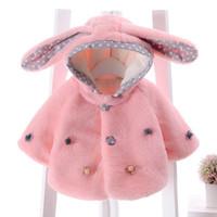 Manteaux d'hiver de bébé Fille d'automne Smocks-vêtement en polaire Cape Pulls Oreilles de lapin mignon Poncho avec capuche pour enfants 1pcs / lot Cap