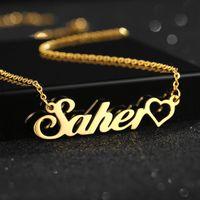 2020 vente chaude nom or collier en acier inoxydable plaqué personnalisé bijoux sur mesure Livraison gratuite anniversaire colliers pendentif cadeau