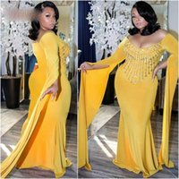 Золотые Платья Плюс Размер Вечерние Платья Совок С Длинным Рукавом Mermid Вечерние Платья 2020 Потрясающие Бисером Африканские Платья Выпускного Вечера