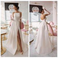 2021 Пользовательские Сексуальные Иллюзии Безо-высокие прорези Свадебные платья Дешевые спагетти с длинным рукавом Robe de Ma Mail