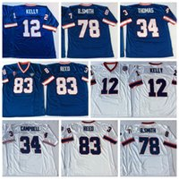 Calcio Maglie 12 Jim Kelly 34 Thurman Thomas 34 Earl Campbell 78 Bruce Smith 83 Andre Reed Ncaa Blu Rosso Jersey ricamati
