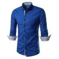 Boutonné Slim Fit double col Robe Hommes Chemises solides manches longues Vêtements Mans Chemises Casual Male social shirt