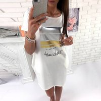 Fashion Letter Print Dress Casual Short Sleeve O- Neck T Shir...