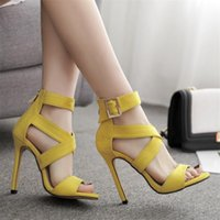 Sexy Yellow Sandals Ladies Gladiator Sandals Summer New Pointed Fish Mouth Cross Thin Heels Fashion Female Dress Shoes