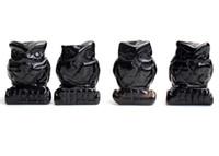 1.5 POLEGADAS Altura Pequeno Tamanho Natural Preto Obsidian Esculpido Cristal Reiki Cura Coruja Estátua