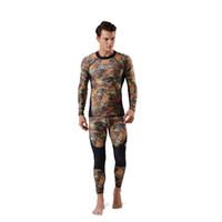 Rash Guard всего тела крышки Thin Wetsuit Lycra Защита от ультрафиолетовых лучей с длинными рукавами Спорт Погружение костюм кожи двухкусочный идеально подходит для купания Camo Цвет