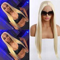 Lange seidige gerade reines 613 leichte blonde Farbe hitzebeständige Perücken synthetische Spitzefrontperücke mit Babyhaaren für Modefrauen