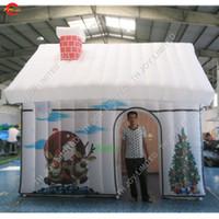 4x3 متر نفخ منزل عيد الميلاد خيمة المحمولة نفخ سانتا كلوز هاوس خيمة نفخ سانتا جروتو للبيع