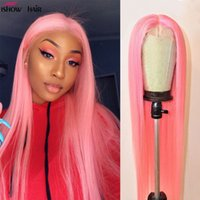 Ishow Peruvian 13*1 T Part Lace Front Wig Highlight Straight Yellow Green Human Hair Wigs Blonde Pink Red Light Blue Purple Ombre Color Wigs for Women All Ages Brazilian