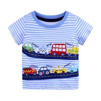 3-6Y verano ocasional de moda de estilo de bebé del niño Los niños de algodón de manga corta del O-cuello jersey de dibujos animados camisetas estampadas