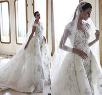 Sexy Cap Sleeves Lace Appliqued Mermaid Wedding Dresses With Detachable Train Luxury Backless Plus Size Bridal Gown Crystal Beaded