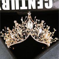 2020 Bride Handmade nakrycia głowy Koreański Złoty Super Bajka Kobieta Rhinestone Korona Zespół Włosów Ślub Akcesoria Do Włosów Wedding Jewelry Hurtownie