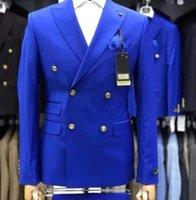TPSAADE New Blue Royal Hommes Slim Fit 2 Pièces Mode Costume Double Breated Smokings Costume de mariage Blazer (veste + pantalon)