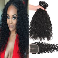 9A Remy Brazilian Human Hair Bundles With Closure 100% Deep ...