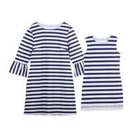 Mama und ich Kleidung Familie passende Kleidung Outfit Mutter Tochter Kleider Mutter und Tochter Kleid Plissee Knit gestreiftes Kleid
