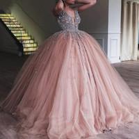 Шампанское Tulle Ball Juinceanera платье 2020 элегантный тяжелый бисерный хрусталь глубокий V шеи сладкие 16 платьев вечерние выпускные платья
