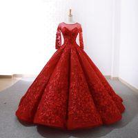 Mingli Tengda Sexy Sheer Neck Lace vestido de baile vestido de noiva 2018 novo elegante noiva princesa vermelha manga longa vestidos de casamento robes de mariée