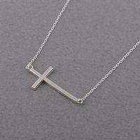 1 Геометрические горизонтальные боковым крестом религия кулон ожерелье простая крошечная маленькая вера христианская счастливая женщина мать мужская семейная подарки ювелирных изделий