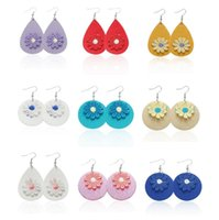 New Small Daisy PU Leather Designer Earrings Jewelry Water D...