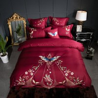34Classic Red Embroidered Butterfly 60S Long- Staple Cotton B...
