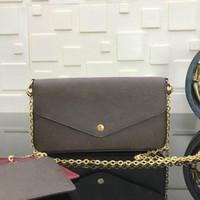 Mit Box Marke Vintage Designer Hobo Frauen Umhängetasche Silber Kette Tasche Tote Clutchbag Handtasche Pochette Felicie mit abnehmbarer Kette M61276