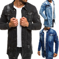 Men Cowboy Coat Hole Denim Jacket Streetwear Style Beggar Lo...